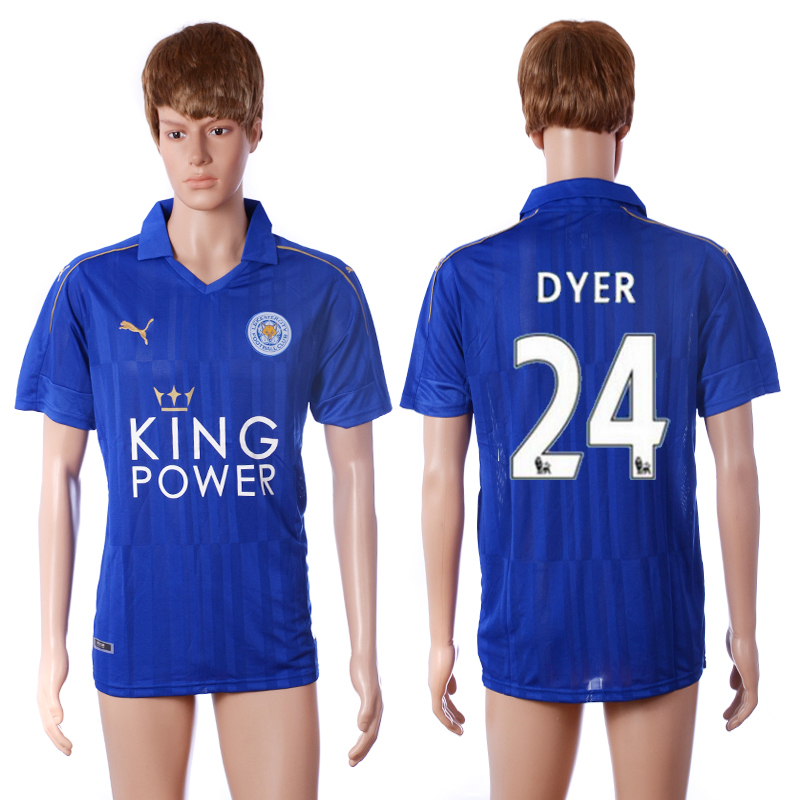 2016-2017 club Leicester City home 24 Dyer blue AAA+ soccer jerseys