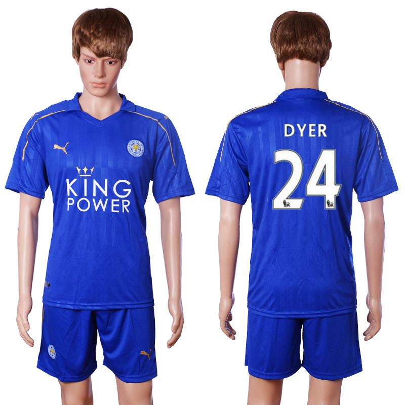 2016-2017 club Leicester City home 24 Dyer blue soccer jerseys