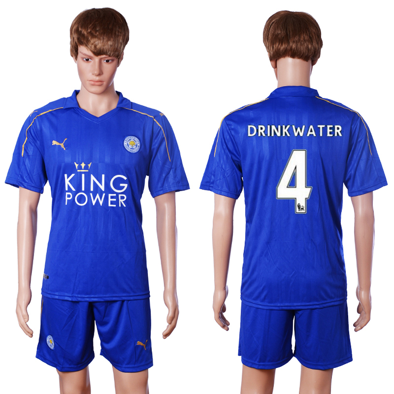 2016-2017 club Leicester City home 4 Drink water blue soccer jerseys