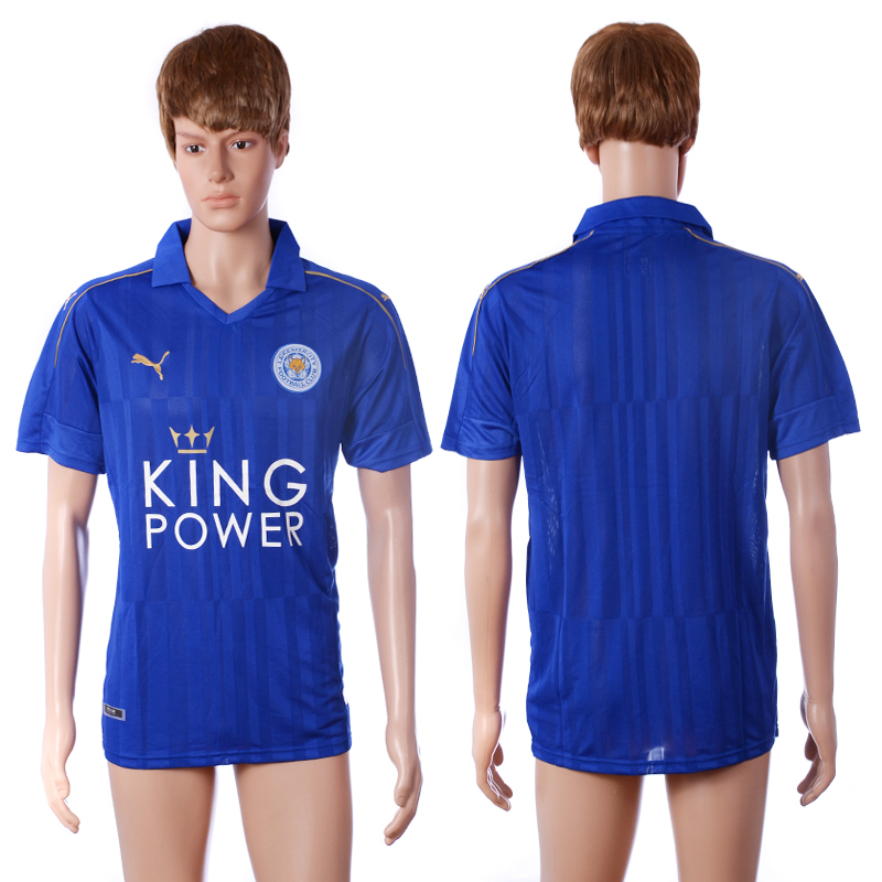 2016-2017 club Leicester City home blank blue AAA+ soccer jerseys