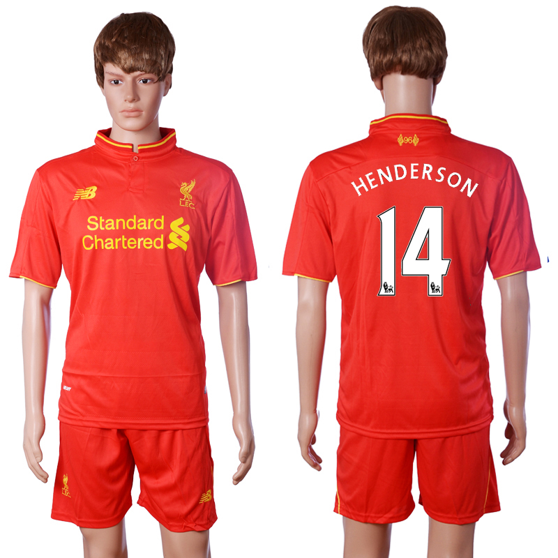 2016-2017 club Liverpool home 14 HENDERSON Red Soccer Jersey
