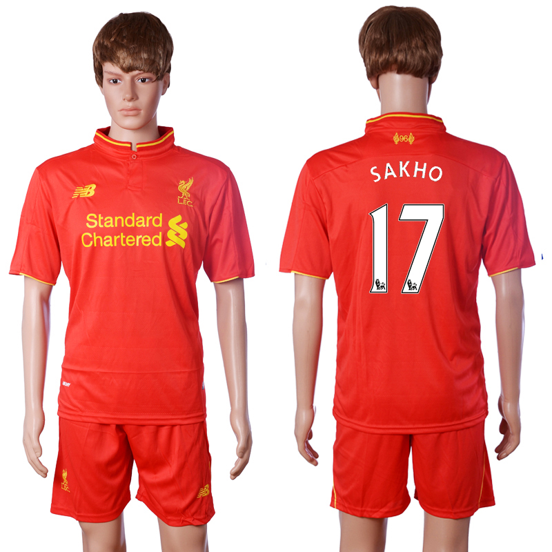 2016-2017 club Liverpool home 17 SAKHO Red Soccer Jersey