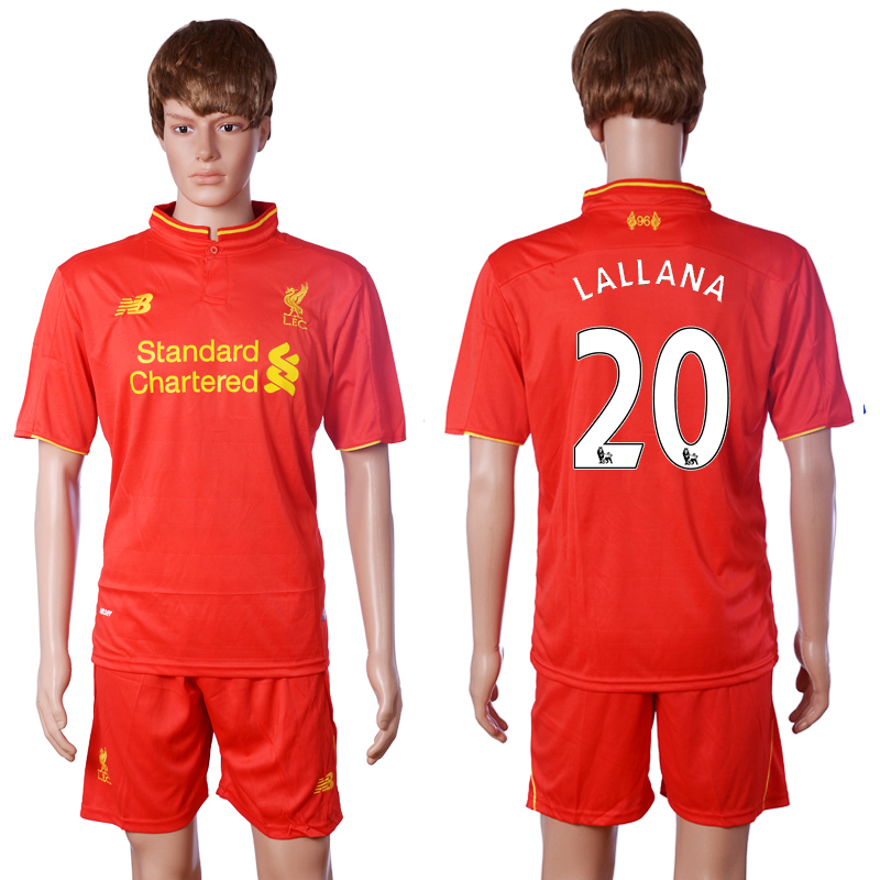 2016-2017 club Liverpool home 20 LALLANA Red Soccer Jersey