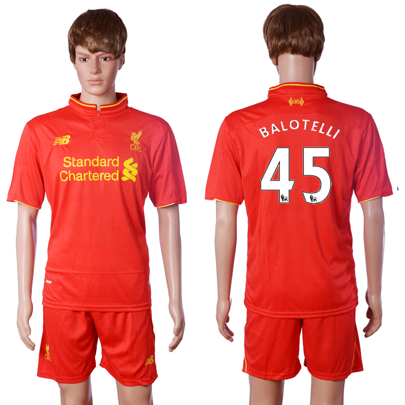 2016-2017 club Liverpool home 45 BALOTELLI Red Soccer Jersey