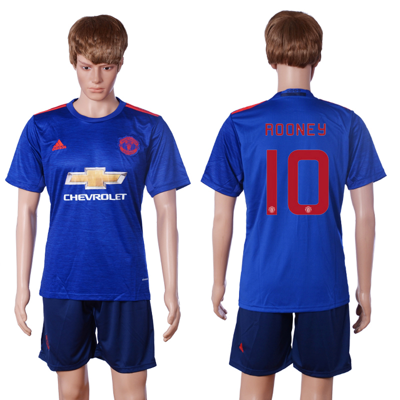 2016-2017 club Manchester United away european champions 10 ROONEY Blue Soccer Jersey