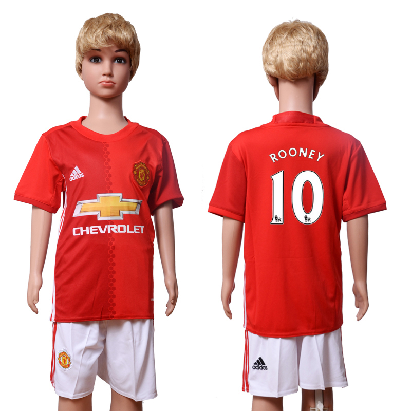 2016-2017 club Manchester United home Kids 10 ROONEY Red Soccer Jersey