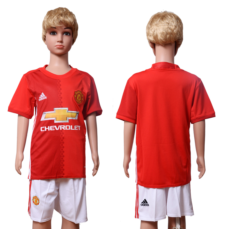 2016-2017 club Manchester United home Kids Blank Red Soccer Jersey