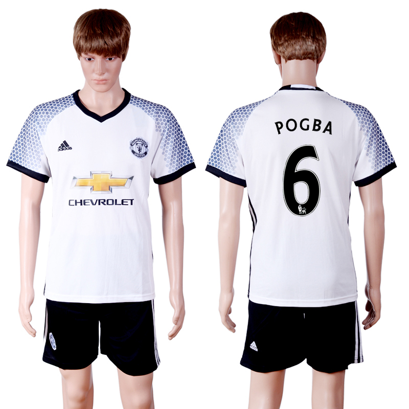 2016-2017 club Manchester United second away 6 White Soccer Jersey