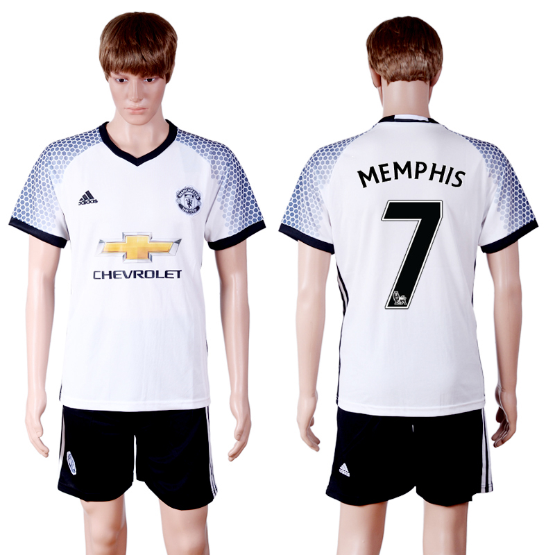 2016-2017 club Manchester United second away 7 White Soccer Jersey