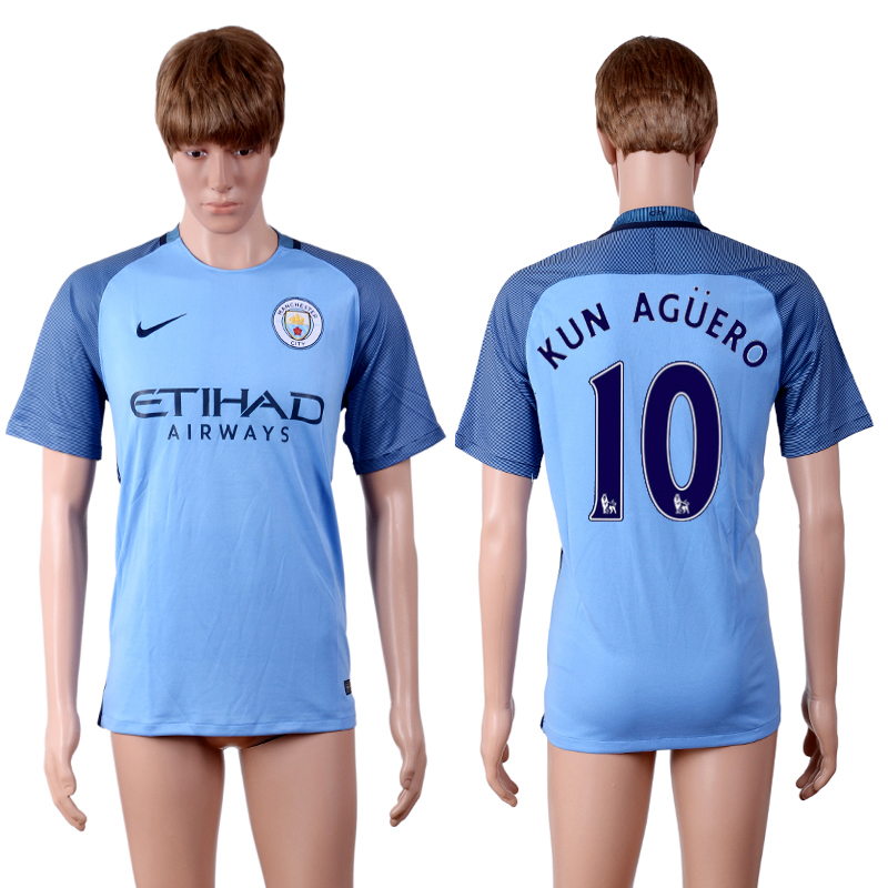 2016-2017 club Manchester city home 10 Blue AAA+Soccer Jersey