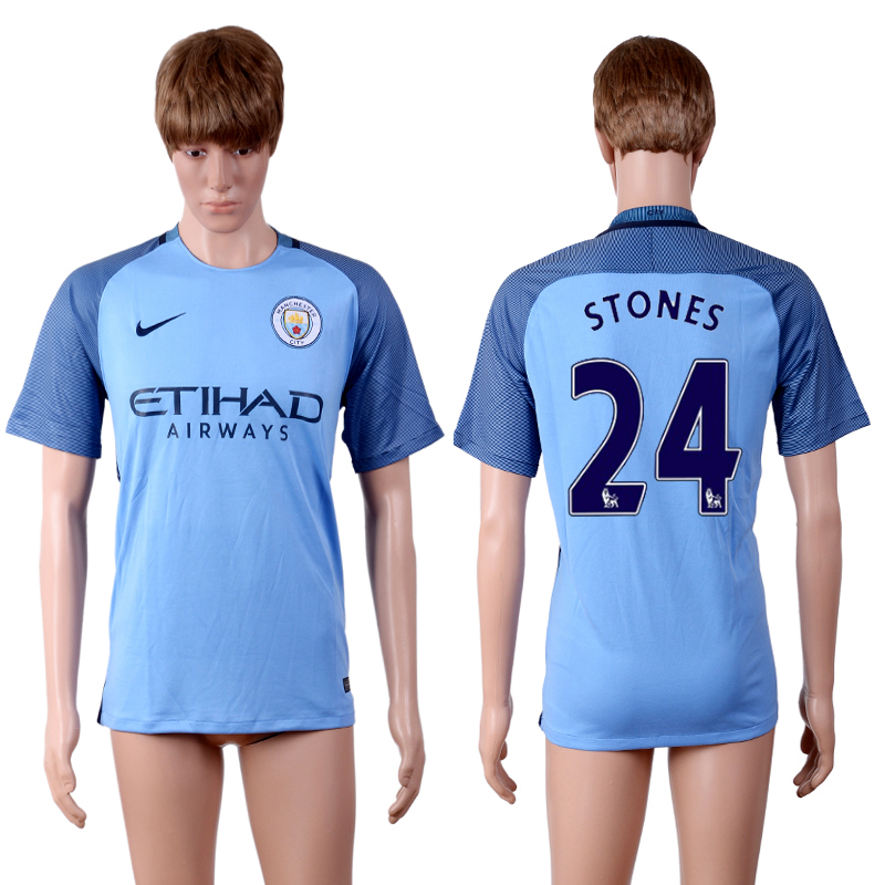 2016-2017 club Manchester city home 24 Blue AAA+Soccer Jersey