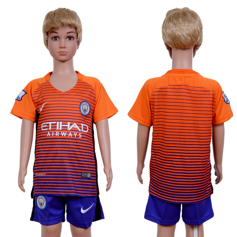 2016-2017 club Manchester city second away kids Orange Soccer Jersey