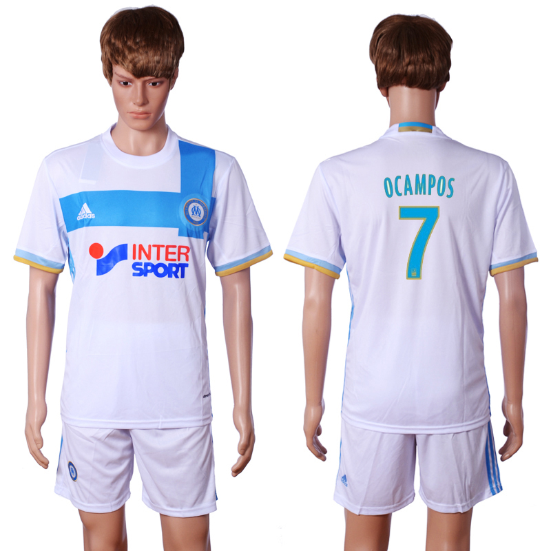 2016-2017 club Marseille home 7 OCAMPOS White Soccer Jersey