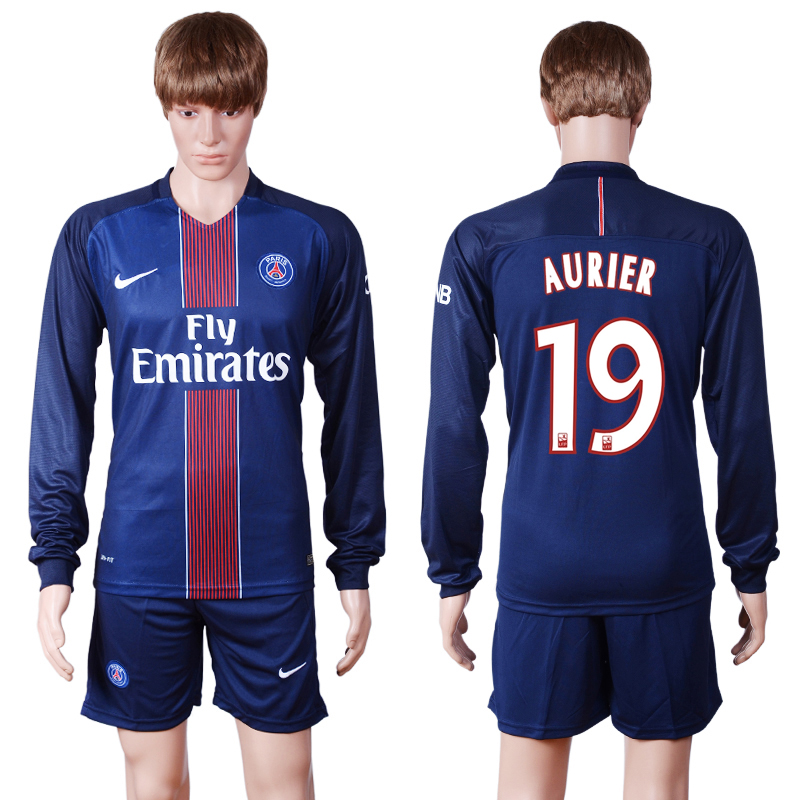 2016-2017 club PSG home long sleeve 19 Blue Soccer Jersey