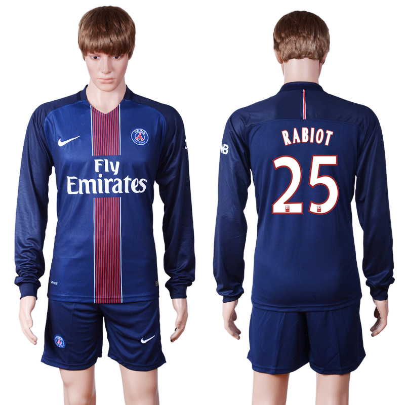 2016-2017 club PSG home long sleeve 25 Blue Soccer Jersey