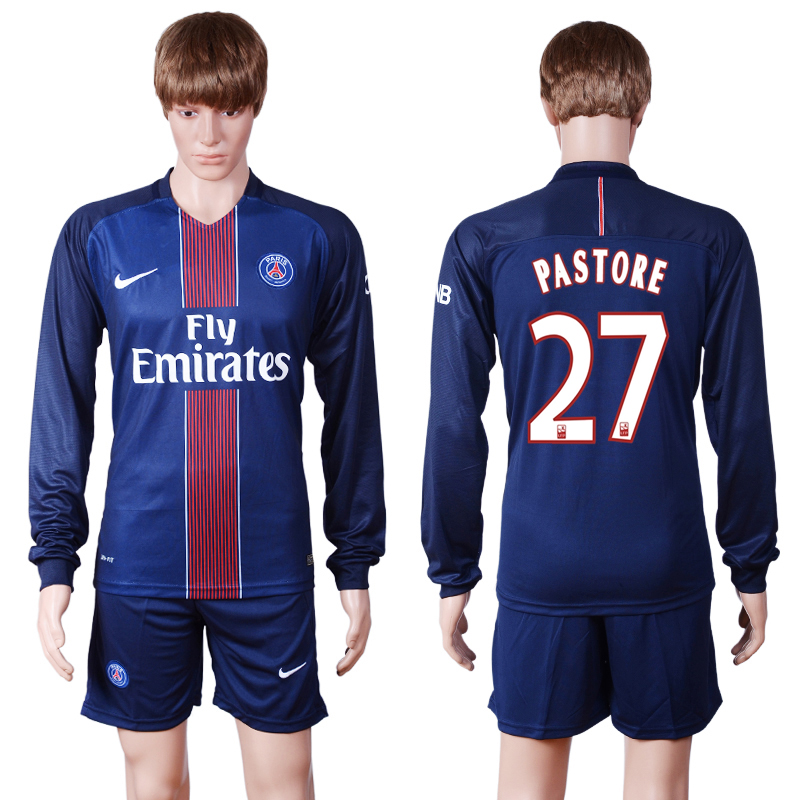 2016-2017 club PSG home long sleeve 27 Blue Soccer Jersey