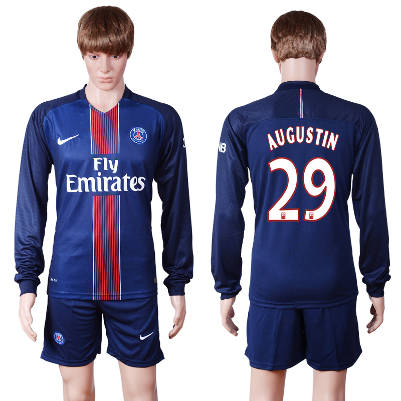 2016-2017 club PSG home long sleeve 29 Blue Soccer Jersey