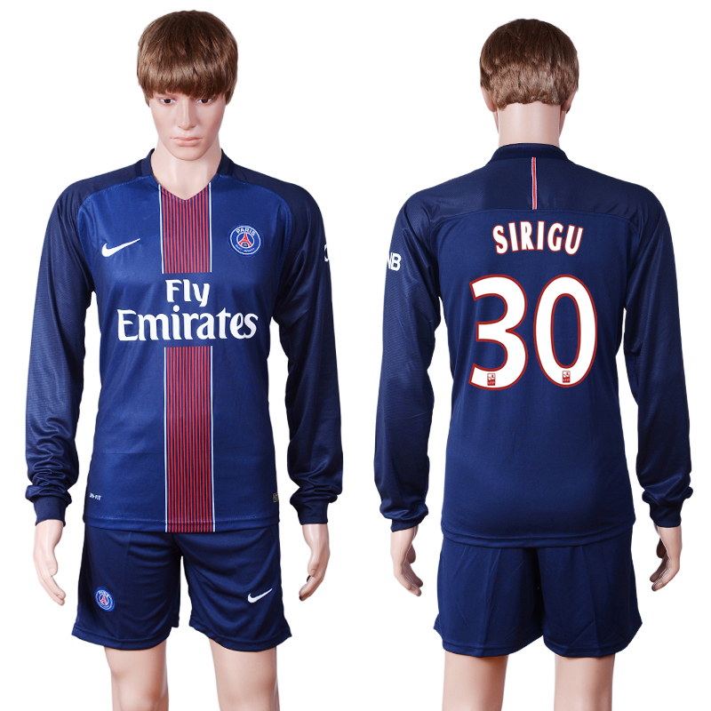 2016-2017 club PSG home long sleeve 30 Blue Soccer Jersey