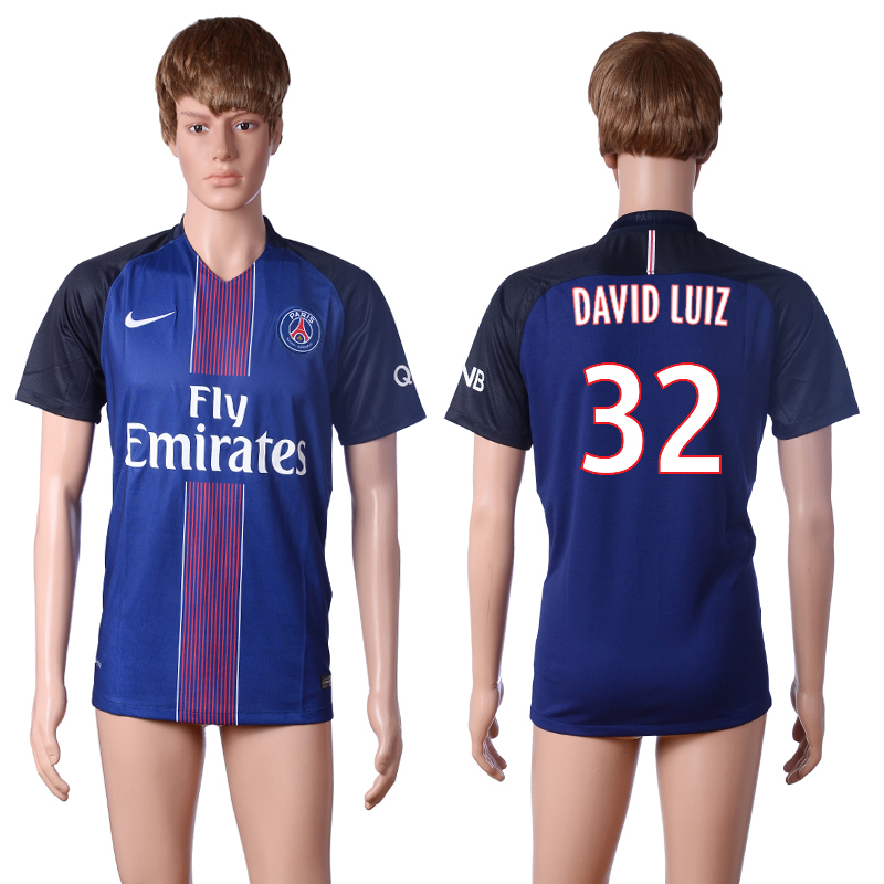 2016-2017 club Paris St Germain home 32 DAVID LUIZ Blue AAA+ Soccer Jersey