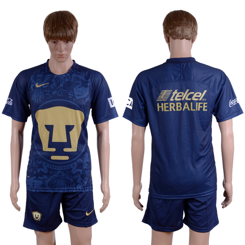 2016-2017 club Pumas UNAM away Blue Blank Soccer Jersey