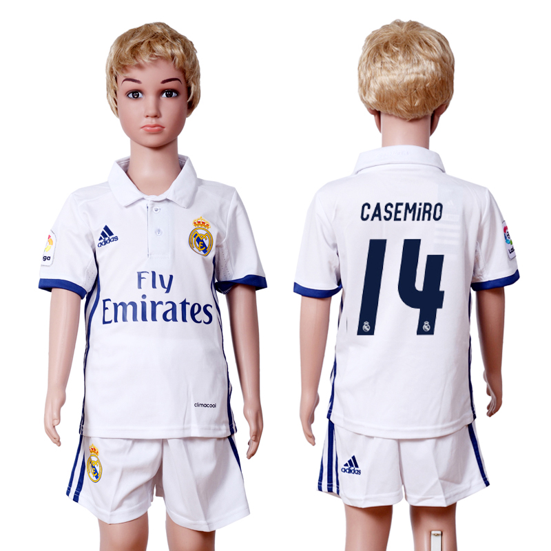 2016-2017 club Real Madrid home kids 14 White Soccer Jersey