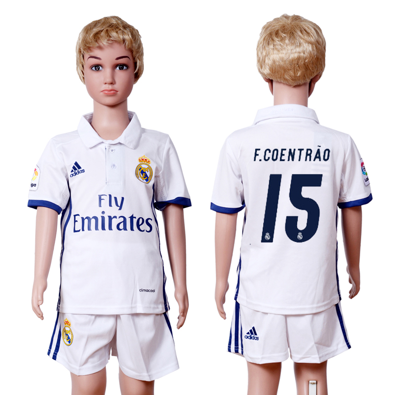 2016-2017 club Real Madrid home kids 15 White Soccer Jersey