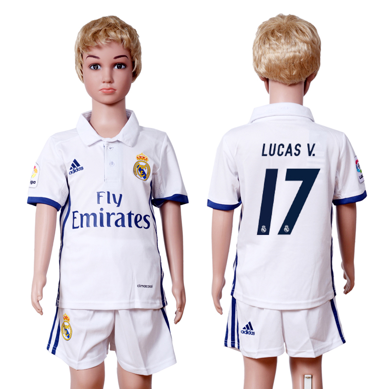 2016-2017 club Real Madrid home kids 17 White Soccer Jersey