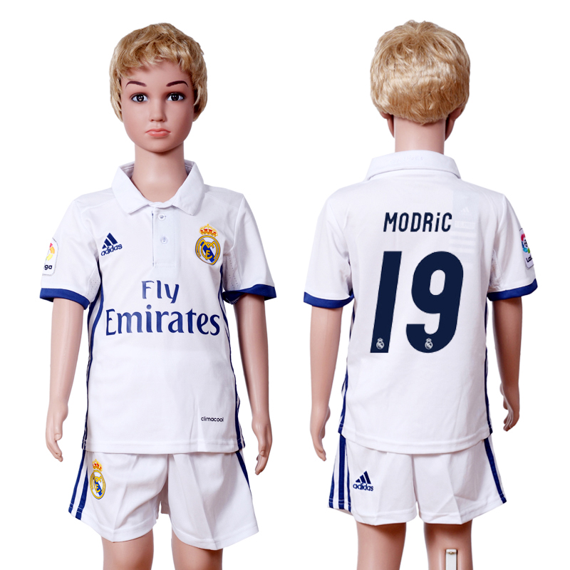 2016-2017 club Real Madrid home kids 19 White Soccer Jersey