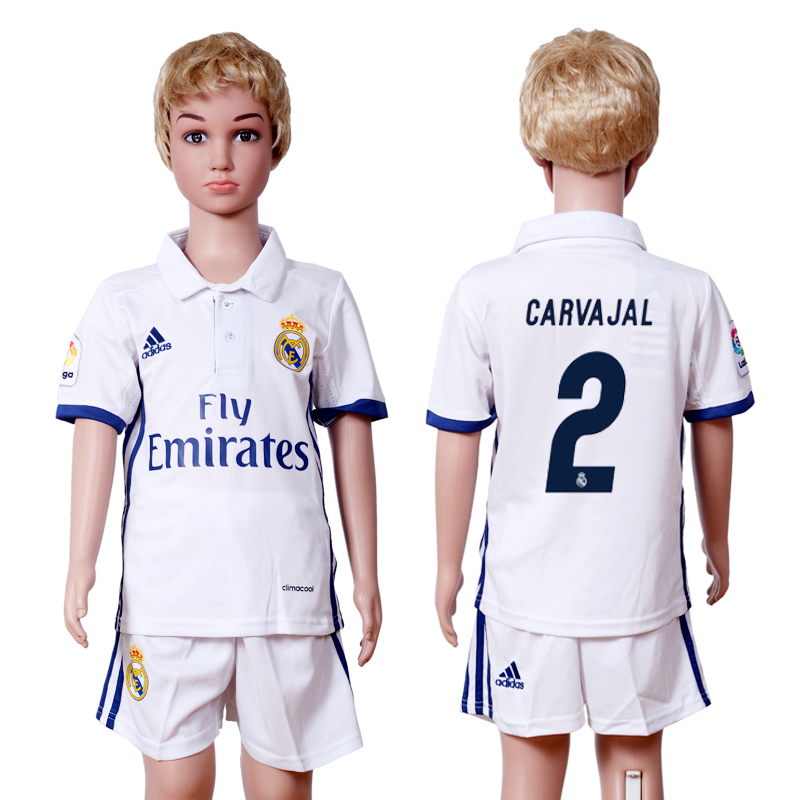 2016-2017 club Real Madrid home kids 2 White Soccer Jersey