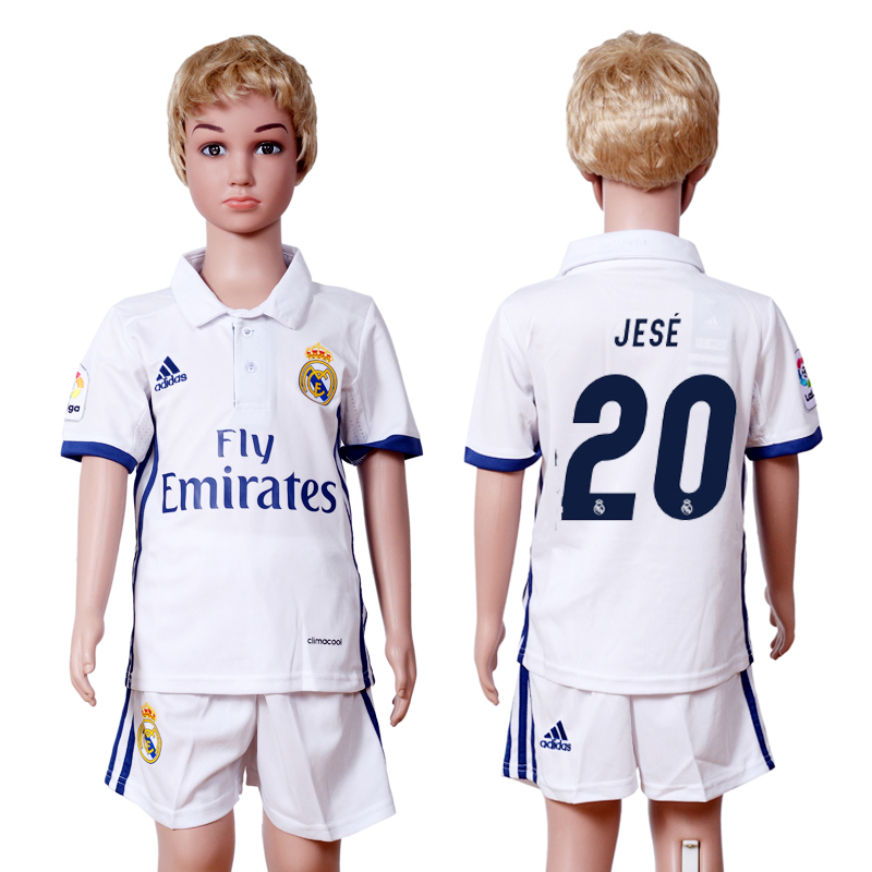 2016-2017 club Real Madrid home kids 20 White Soccer Jersey