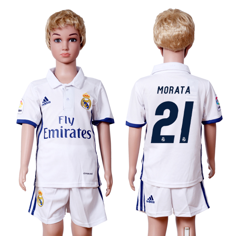 2016-2017 club Real Madrid home kids 21 White Soccer Jersey