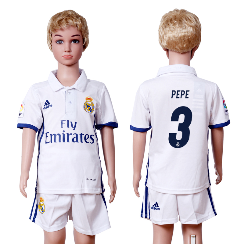 2016-2017 club Real Madrid home kids 3 White Soccer Jersey