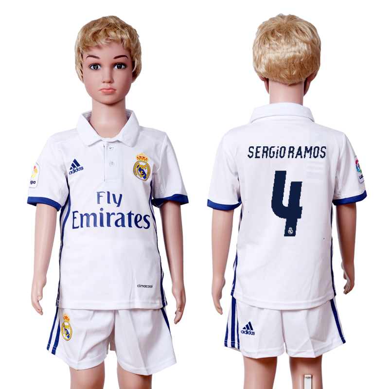 2016-2017 club Real Madrid home kids 4 White Soccer Jersey