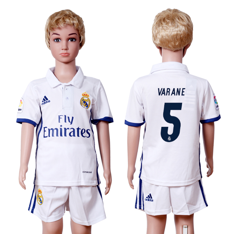 2016-2017 club Real Madrid home kids 5 VARANE White Soccer Jersey