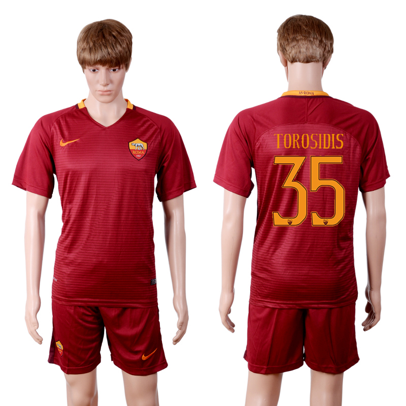 2016-2017 club Rome home 35 Red Soccer Jersey