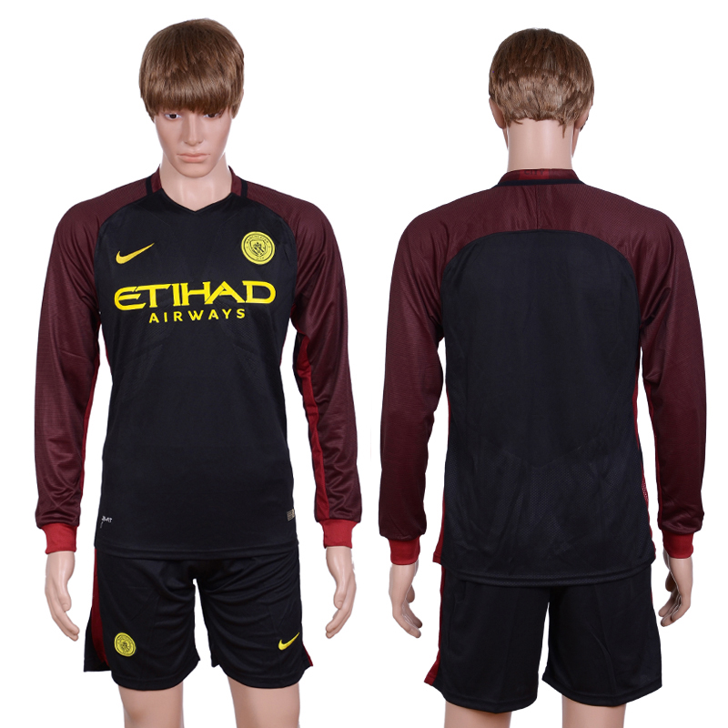 2016-2017 club manchester city away long sleeve Black Soccer Jersey