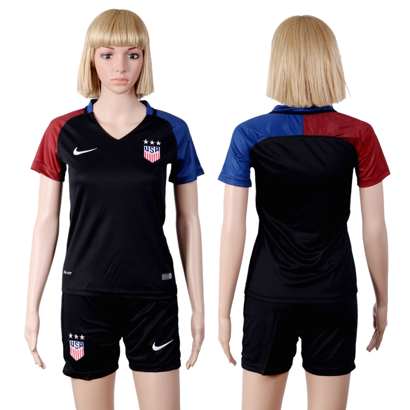 2016-2017 national USA away woman black soccer jerseys