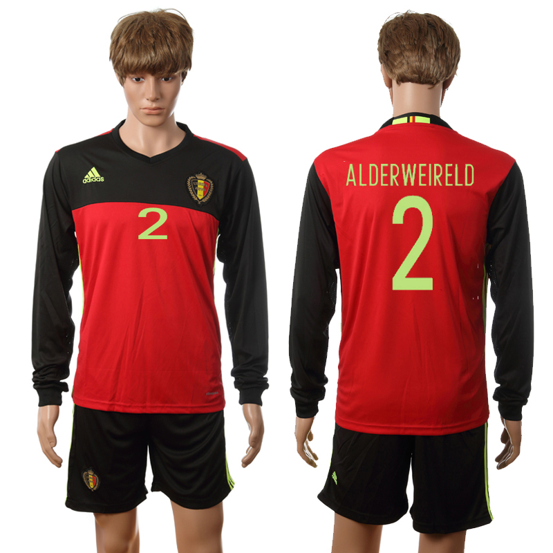 European Cup 2016 Belgium home long sleeve 2 Alderweireld red soccer jerseys