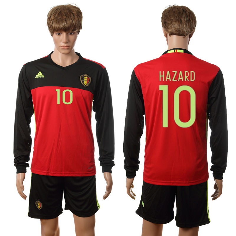 European Cup 2016 Belgium home long sleeve 10 Hazard red soccer jerseys