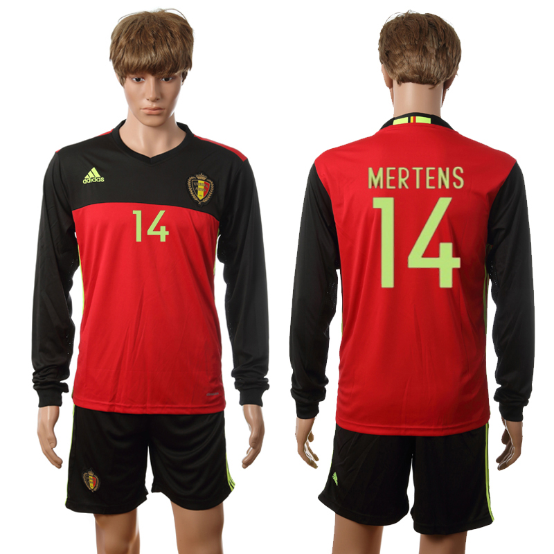 European Cup 2016 Belgium home long sleeve 14 Mertens red soccer jerseys