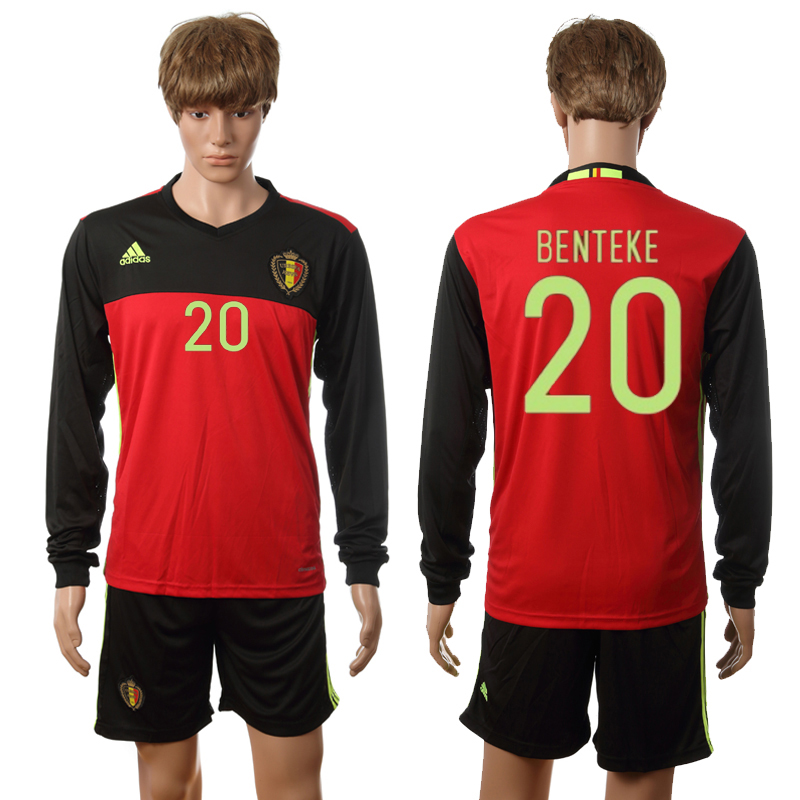 European Cup 2016 Belgium home long sleeve 20 Benteke red soccer jerseys