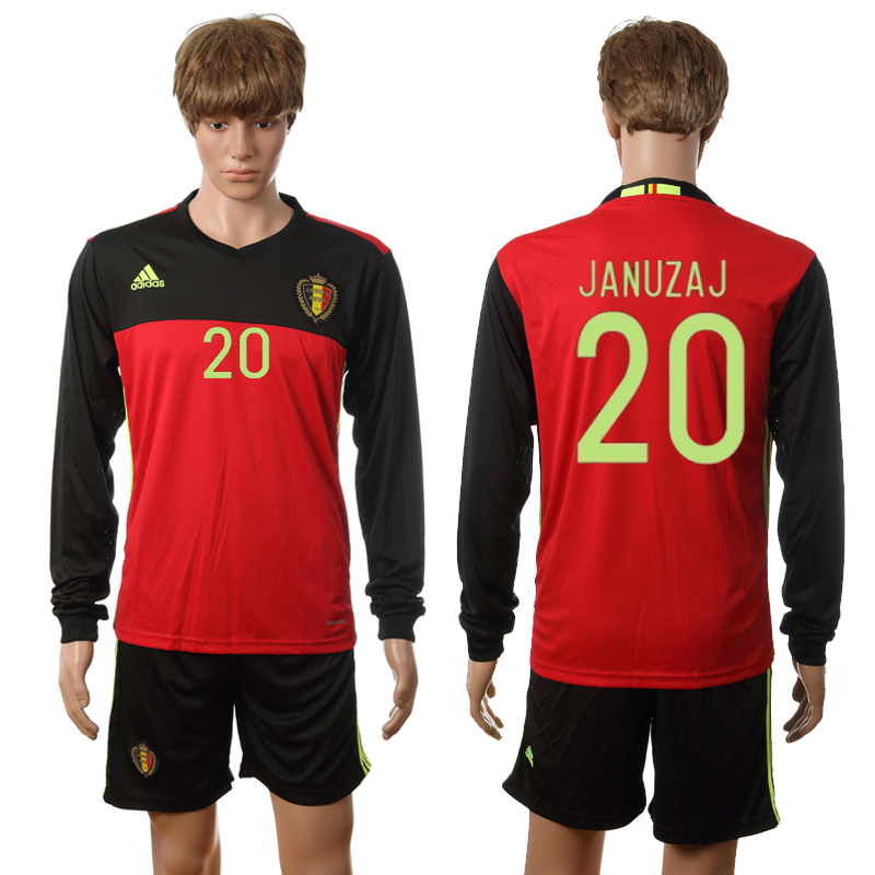 European Cup 2016 Belgium home long sleeve 20 Januzaj red soccer jerseys