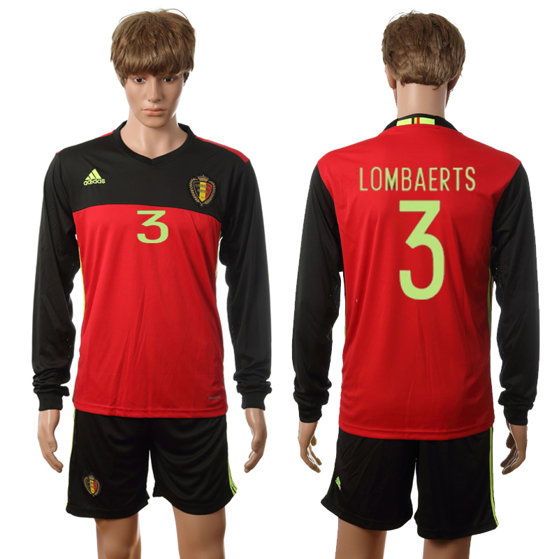 European Cup 2016 Belgium home long sleeve 3 Lombaerts red soccer jerseys