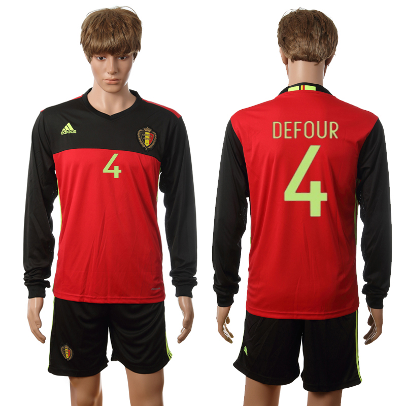 European Cup 2016 Belgium home long sleeve 4 Kompany red soccer jerseys