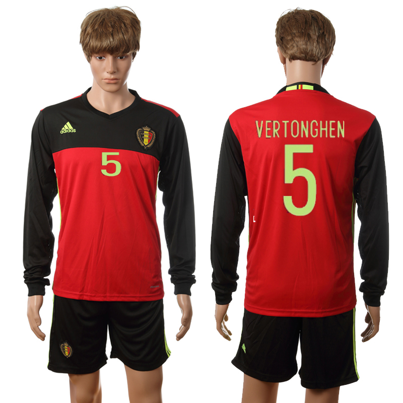 European Cup 2016 Belgium home long sleeve 5 Vertonghen red soccer jerseys