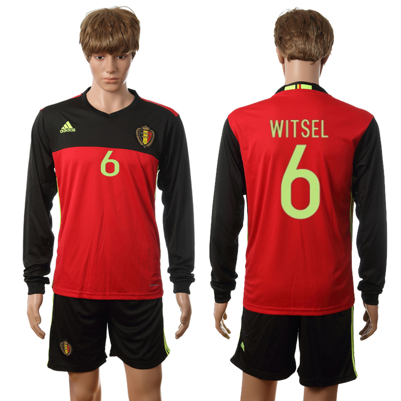 European Cup 2016 Belgium home long sleeve 6 Witsel red soccer jerseys
