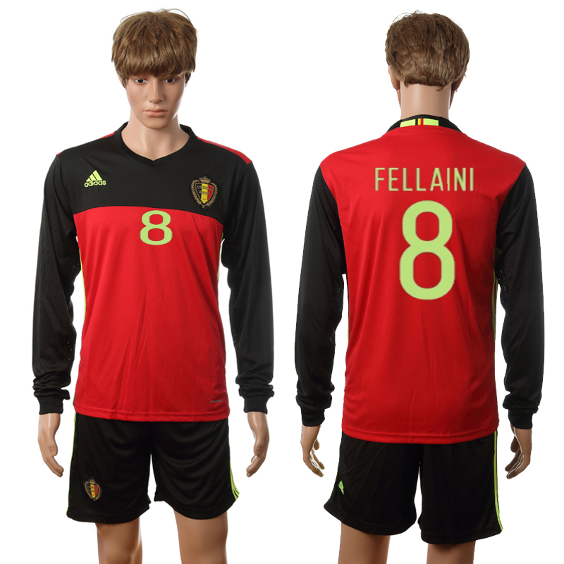 European Cup 2016 Belgium home long sleeve 8 Fellaini red soccer jerseys