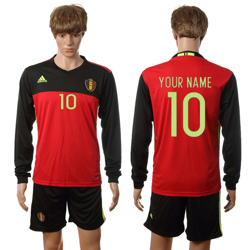 European Cup 2016 Belgium home long sleeve Custom red soccer jerseys