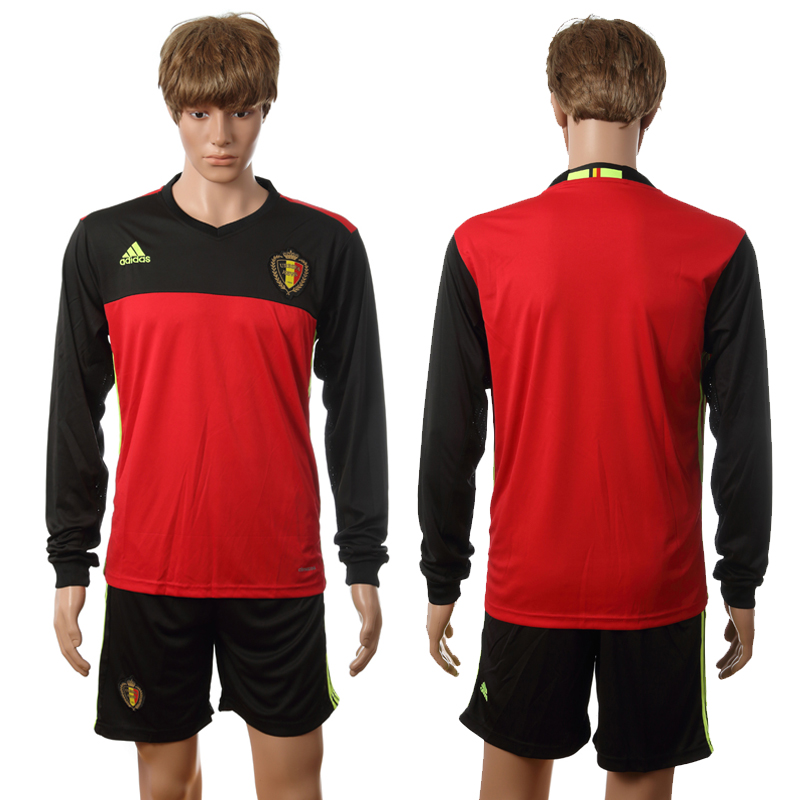 European Cup 2016 Belgium home long sleeve blank red soccer jerseys