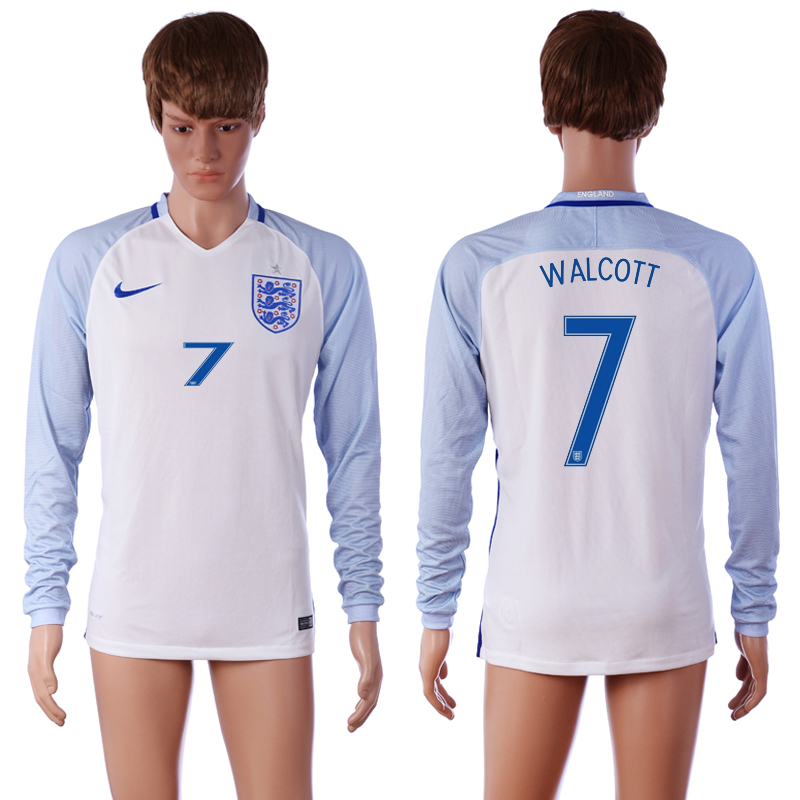 European Cup 2016 England 7 WALCOTT Home White long sleeve AAA+ Soccer Jersey